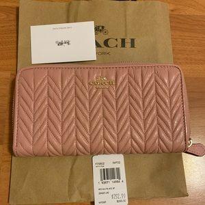 New Coach wallet carnation (pink) zipper wallet